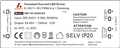 0-10v Dimmable 350mA 8w LED Driver